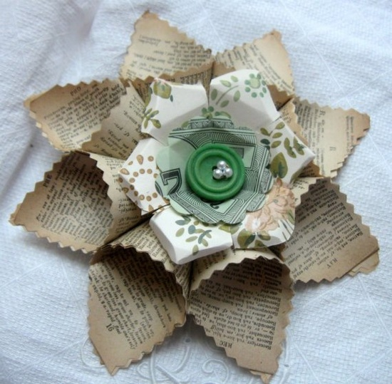 Charming Vintage Paper Flower button Posy (love the Monopoly money center). #papers #flowers #cards #scrapbooking #crafts #book_paper