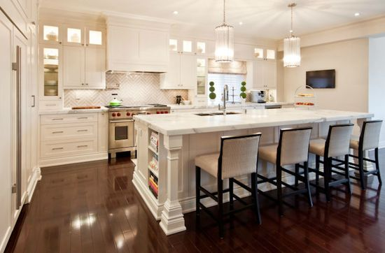 Lighted cabinets + classic finishes gorgeous!