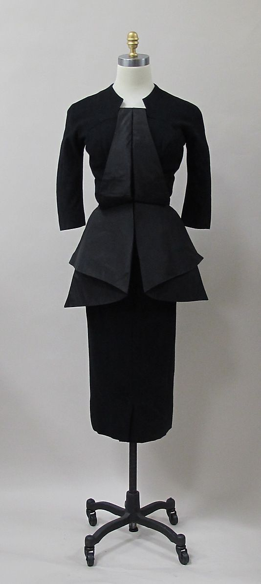 ~Early 1950s Black Day Dress by Charles James~