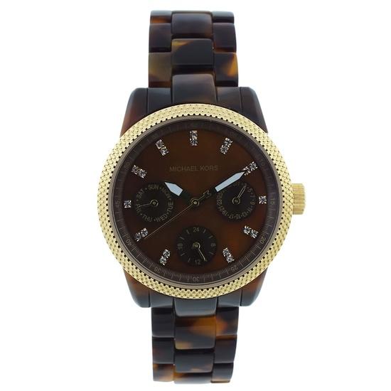 Michael Kors Tortoise Watch In Brown.