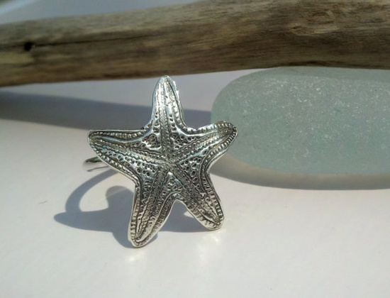 Sterling Silver Starfish Ring Beach Jewelry by JulieAndersonDesign