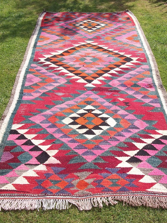 Vibrant Woven Persian Kilim.  8 ft x 4 ft. Bright  Wool Rug/Kilim/Carpet Runner.  Afghanistan..  via Etsy.~ this would look great in my all   white/cream hall kitchen