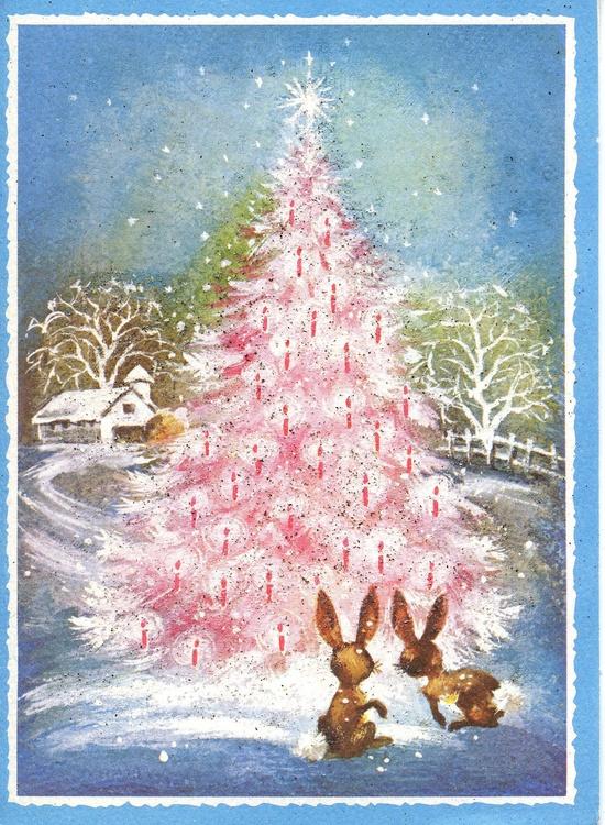 Vintage Christmas Bunnies  & Tree