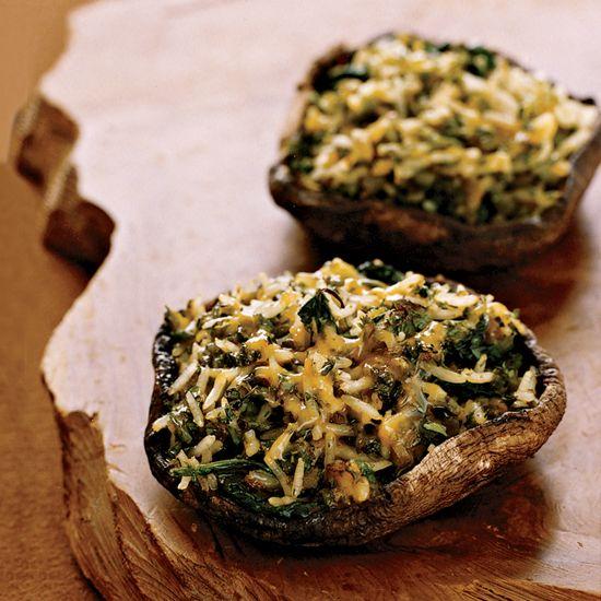 Poblano & Cheddar-Stuffed Mushrooms // More Mushroom Recipes: www.foodandwine.c... #foodandwine