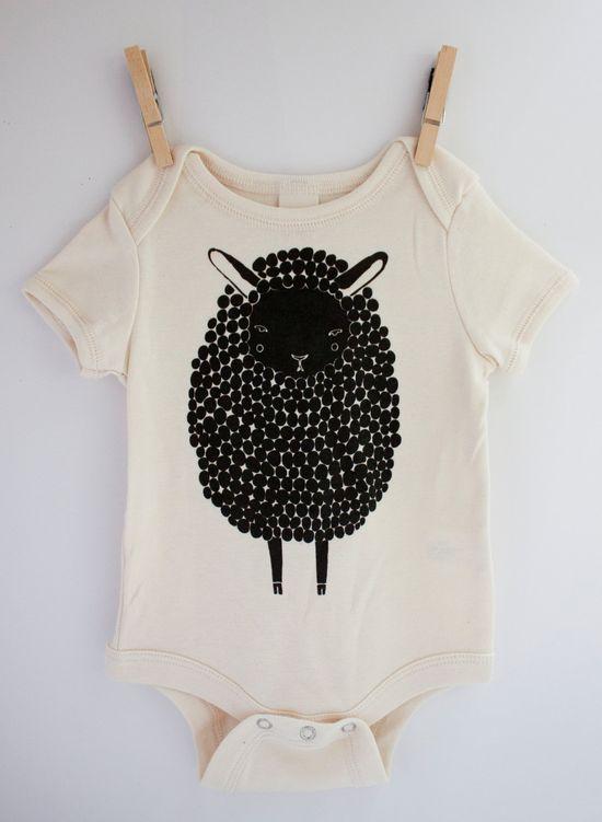 Sheep Onesie - Black Sheep Organic Baby Onesie. $26.00, via Etsy.