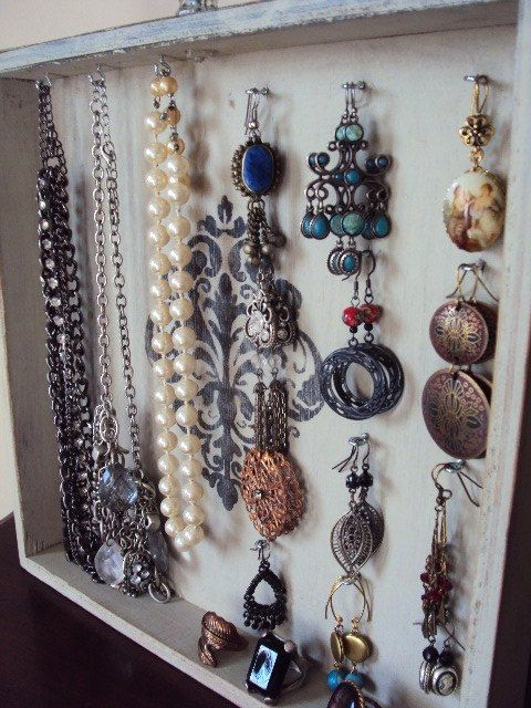DIY Jewelry Display idea: French Style Jewelry Display Holder Vintage by primitivepincushion
