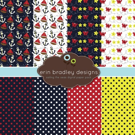 nautical digital paper pack: navy, red, yellow