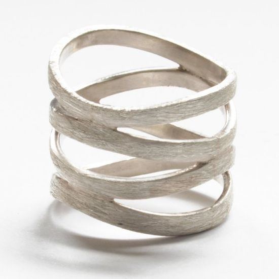 circle loop brushed sterling silver ring by banou on Etsy, $120.00