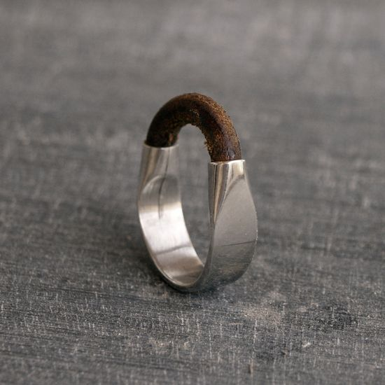 silver and leather unisex sterling silver ring