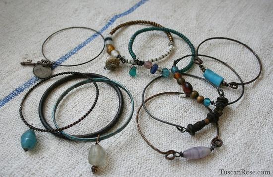 Ocean set 6 - Bangle Stack - set of 10 Bangles - mermaid gypsy bracelets