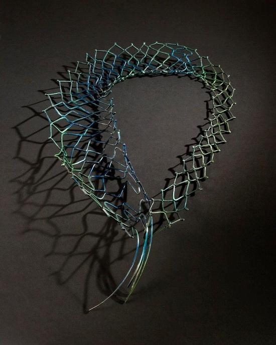 """Akis Goumas - necklace """"Pleione"""" Alpaca,acrylics."""
