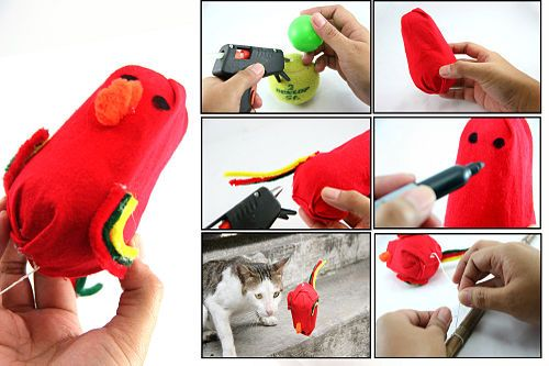Playtime helps your cat relieve stress and improve her fitness. Try making this DIY bird toy from Wikihow.com. Learn more at www.purinaone.com... #cat #DIY #play