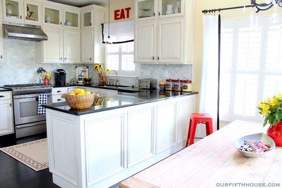 Similar layout. White cabinets