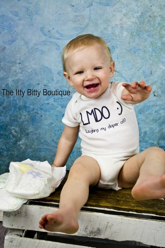 Laughing My Diaper Off  Funny Baby Onesie  by ShopTheIttyBitty, $17.00