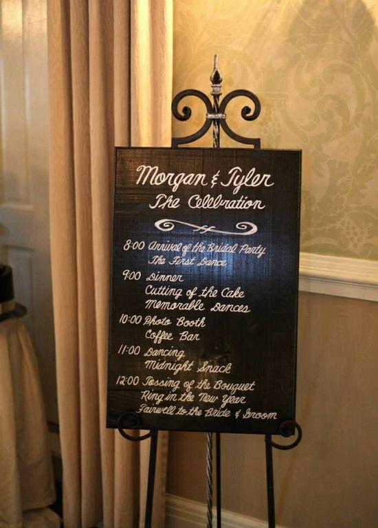 Schedule -- wedding reception -- New Year's Eve wedding