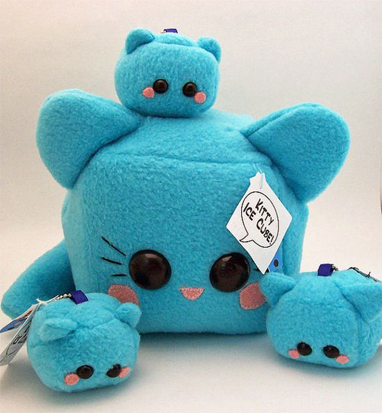 Kitty Cat Ice Cube Plushie kawaii stuffed toy in soft blue fleece #handmade #toys #toy #stuffed #stuffedtoys