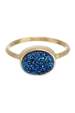 18K Gold Clad East-West Electric Blue Druzy Oval Ring