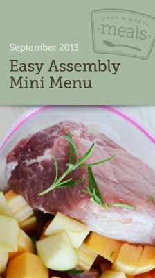 Easy Assembly Mini Freezer Menu September 2013- 10 fall inspired meals in under 2 hours. Complete with serving size customizable grocery lists, recipe cards, instructions, and printable labels. #freezercooking #mealplanning #oamc