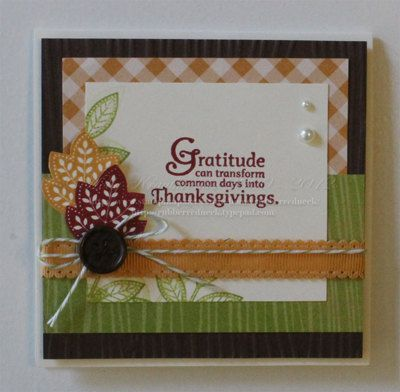Stampin' Up Handmade Thanksgiving Card Day of by Rubberredneck, $3.95