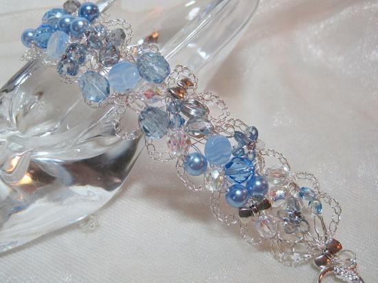 Lacy Light Blue Bracelet crochet wire jewelry by HettyMarie