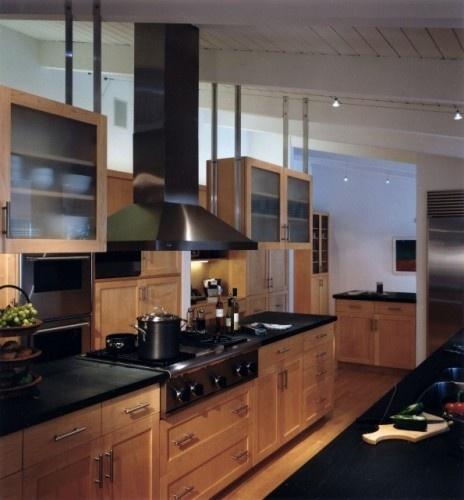 Birch cabinets - black counters