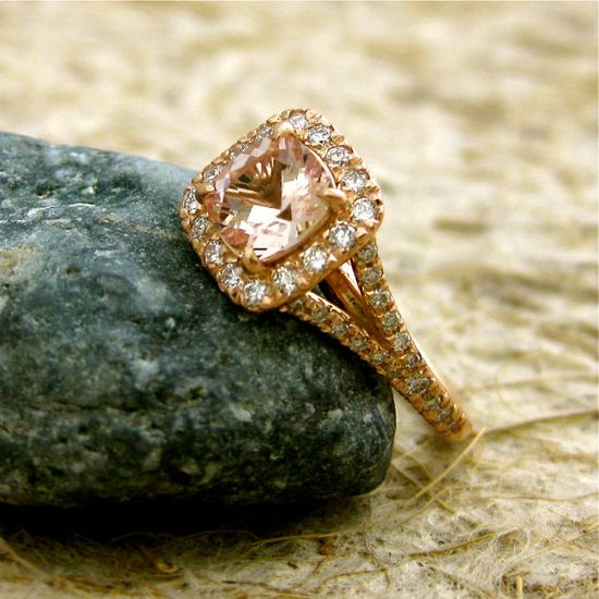 perfect antique cushion cut (pink morganite 14k rose gold w diamonds)  #exactlywhatiwant #soiknowitsreal    Price tag $1820.00 (impressive!)