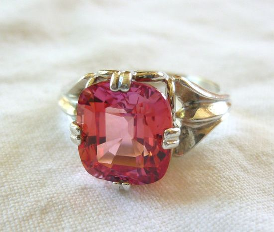 10MM X 8MM Cushion Cut 5.3 Ct Lab Created Padparadscha Sapphire Sterling Silver Ring by My Nanna's Attic on Etsy