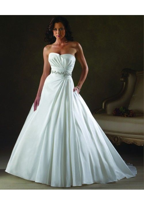 Beaded Embellishment Accents Bodice A-Line Style with Gathered Skirt Lucky Wedding Dress