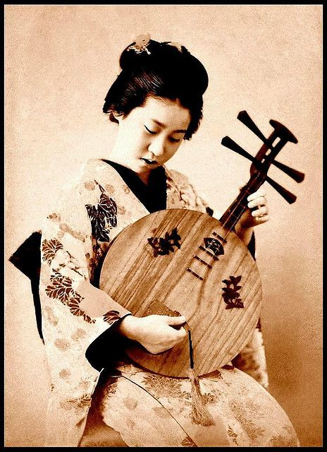 A maiden and her 'moon lute' in old Japan