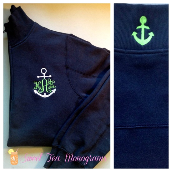 Anchor monogram quarter zip pullover with anchor critter collar