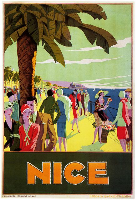 Oh the 1920s chicness that about in this travel poster for Nice. #vintage #1920s #travel #posters