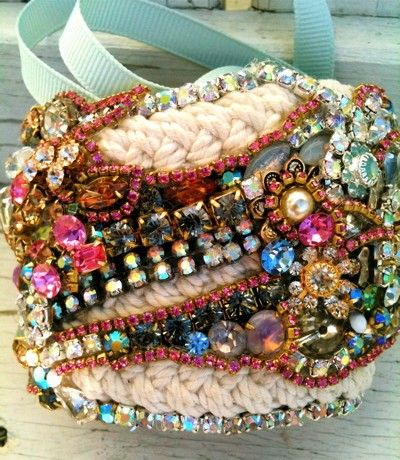 Custom cuffs that are beyond belief...mix of vintage gems & braided bracelets. By DolorisPetunia on Etsy.