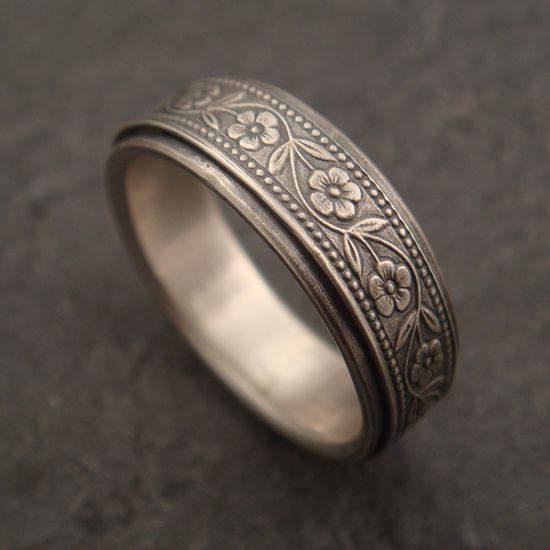 Floral Wedding Band in Sterling Silver. $125.00, via Etsy.