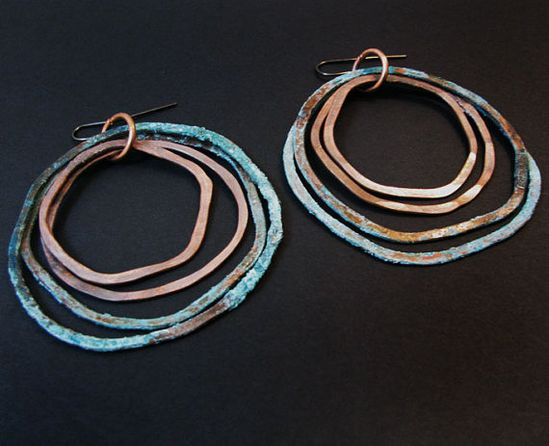 Patina earrings - Double Oxi Design - handmade copper jewelry  $35.00