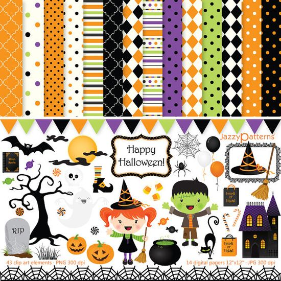 Halloween clipart and digital scrapbook paper by JazzyPatterns, $8.00