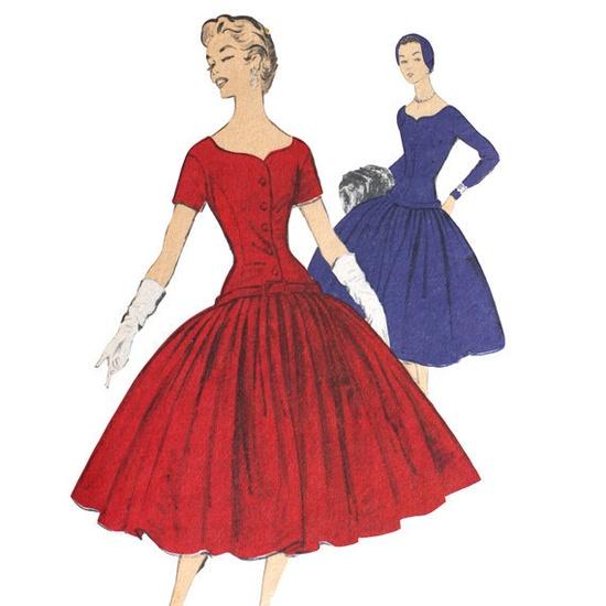 Advance 6980 Misses 1950s Full Dress Pattern by VtgSewingPatterns, $30.00