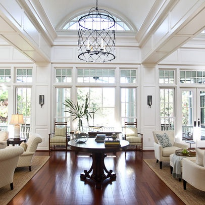 Eclectic Home Design Ideas - love the ceiling, light fixture, floor...