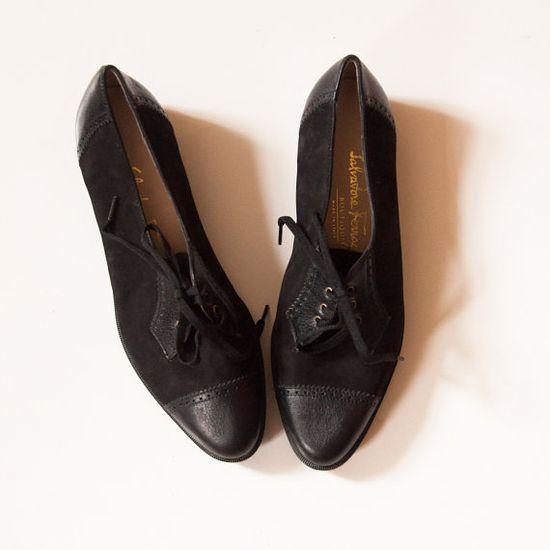 Vintage Ferragamo Suede and Leather Oxford by lastprizevintage