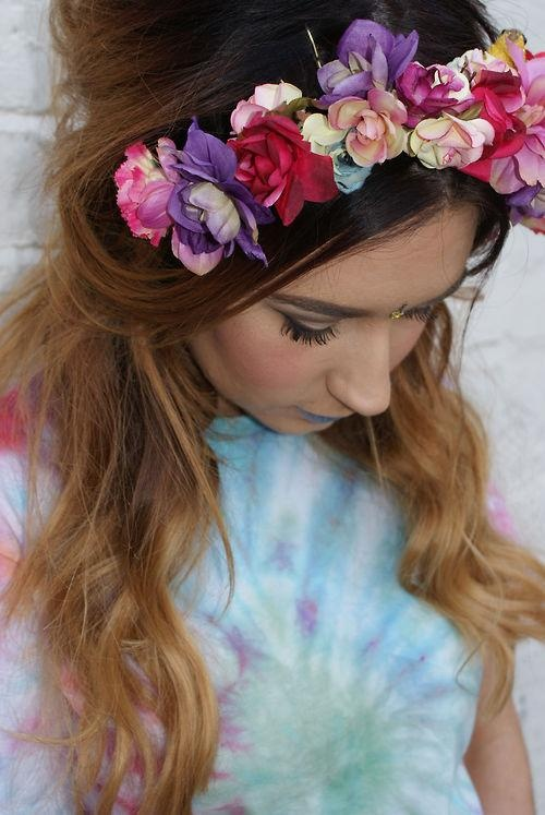 Tie dye and floral headband x