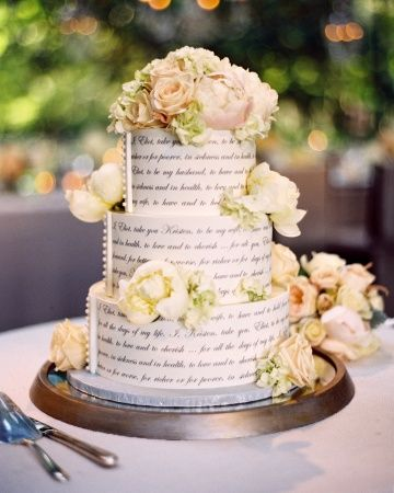 Neutral three-tiered cake adorned with the bride & groom's vows and fresh flowers #Wedding Cake ... Wedding ideas for brides, grooms, parents & planners ... itunes.apple.com/... … plus how to organise an entire wedding, without overspending ? The Gold Wedding Planner iPhone App ?