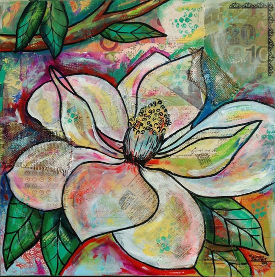 Louisiana Magnolia blossom mixed media Painting Art by Melanie Douthit