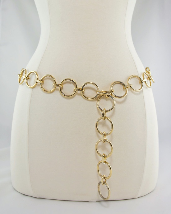 "1960s Gold Circle Chain Belt.We wore these with our ""shift"" dresses."