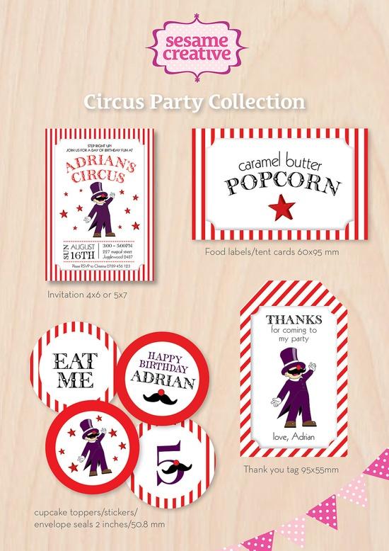 printable circus theme labels