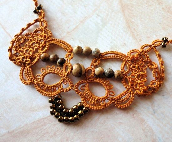 Necklace tatted in deep gold cotton with jasper by yarnplayer, $42.00