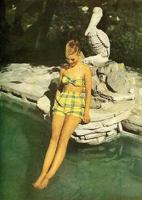 1940s yellow & green plaid bathing suit.