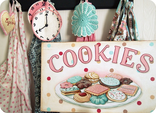just finished! And you can bet we have real deal cookie crumbs all over the studio!! :) #cookies #sign #bakery #kitchen #kids #pink #polka dots #spotty #aqua # retro # vintage #hand painted