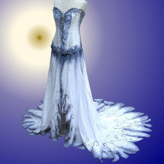 Hand Painted Gothic Wedding Gown. $700.00, via Etsy.
