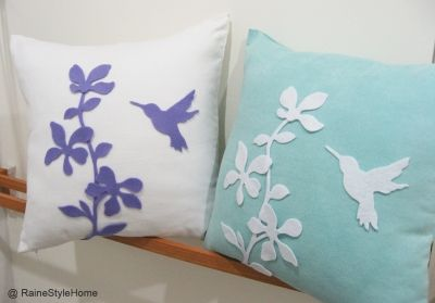 Spring Blossom Humming Bird Yellow White Cushion Cover £19.80 #handmade #craft