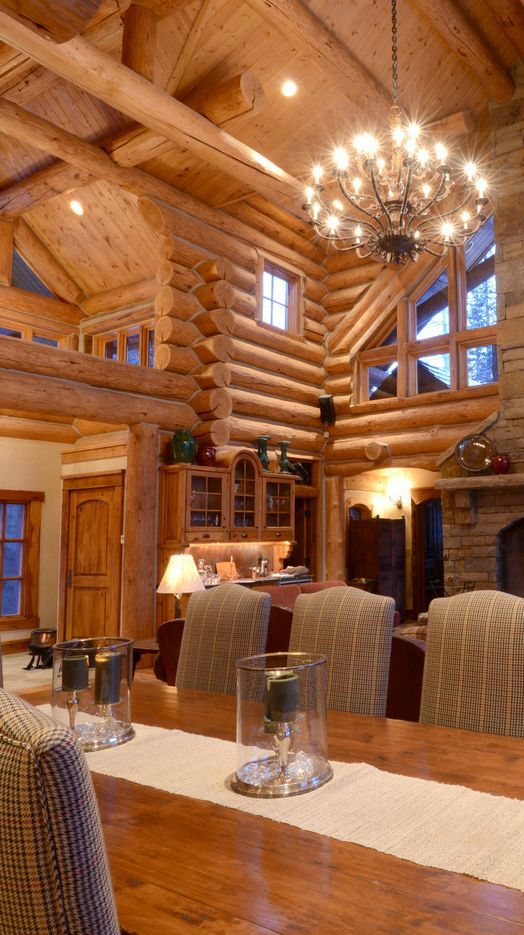 Log Home Interior Want to have one?? dinning in front of picture and family room walls to rear of #home decorating #luxury house design #interior decorating