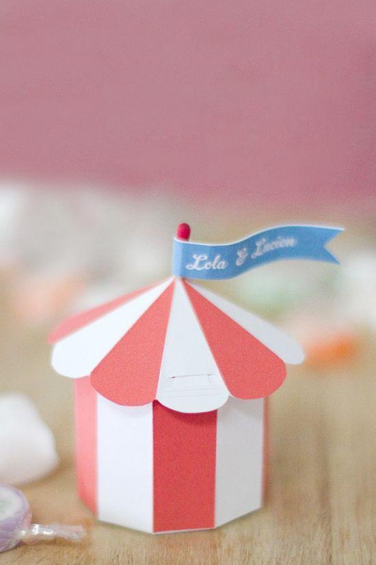 DIY: circus tent favor box (free download). More fun favors at pinterest.com/...